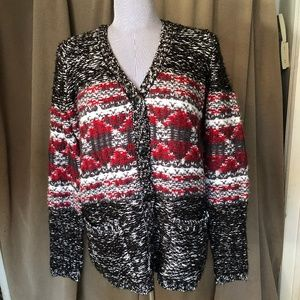 Olive + Oak NEW black red marl knit cardigan S